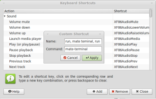 inserting name and command for the shortcut
