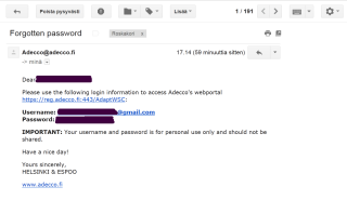 Clear text password sent back in email